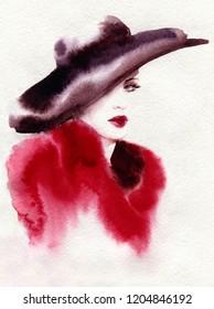 beautiful woman in fur coat. fashion illustration. watercolor painting