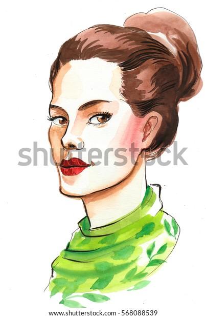 Beautiful woman in green scarf