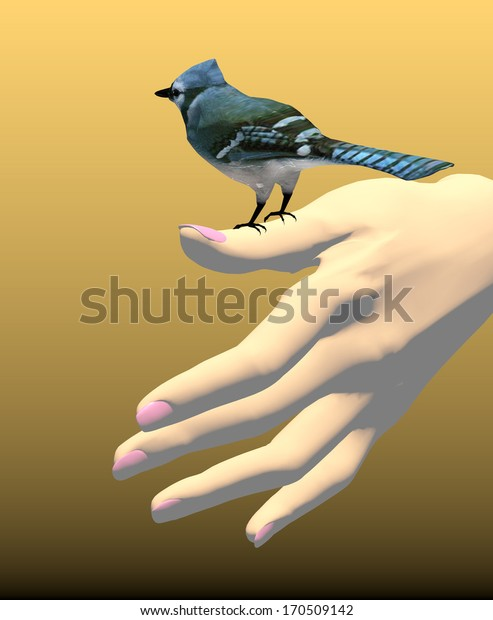 a beautiful woman hand with pink nail polish holds a cute small blue bird, 3D illustration, raster illustration