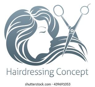 A beautiful woman having her hair cut by hairdresser scissors.
