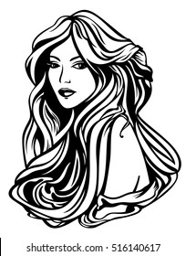 beautiful woman with long gorgeous hair black and white outline portrait
