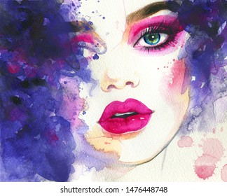 Beautiful woman, makeup, art and fashion. Hand painted watercolor illustration.