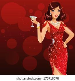 Beautiful woman with martini glass