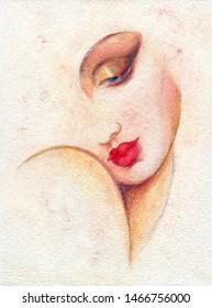 schöne Frau. Ölmalerei. zeitgenössische Kunst