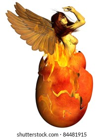 Beautiful woman as the Phoenix reborn from a fiery egg, 3d digitally rendered illustration