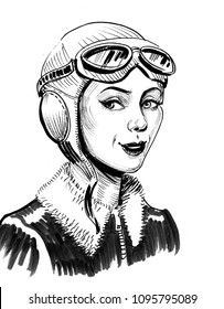 Beautiful woman pilot in helmet. Ink black and white illustration
