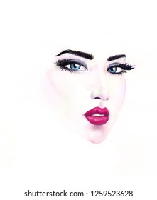 Beautiful woman portrait. Abstract fashion watercolor illustration. fashion illustration