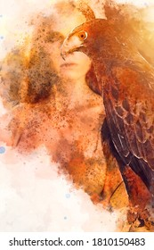 Beautiful woman posing on nature with eagle. Digital watercolor image