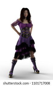 Beautiful woman in a purple steampunk style dress with hands on hips. 3D illustration on a white background.