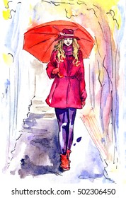 Beautiful woman in red walking in rainy day in park with umbrella, hand painted watercolor illustration