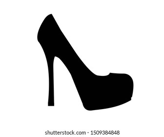 Beautiful woman shoes isolated silhouettes
