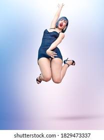 Beautiful woman short evening mini dress. woman umping for joy.Bright makeup.Woman studio glamorous photo shoot.Conceptual fashion art.Seductive candid pose.Femme fatale.3D Render.