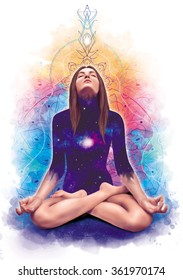 Beautiful woman sitting in meditation in lotus pose in summer and spring colors with cosmic space in her heart illustration