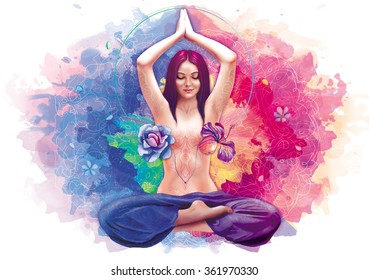 Beautiful woman sitting in meditation in lotus pose in summer and spring colors with flowers in her heart illustration