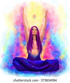 Beautiful woman sitting in meditation in lotus pose with her hands raised up in summer and spring colors with cosmic space in her heart illustration, banner or poster idea, watercolor style