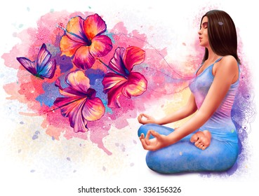 Beautiful woman sitting in meditation in yoga pose. Girl meditation with flowers and butterfly coming from her heart illustration