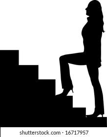 beautiful woman walking up stairs illustration
