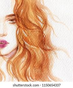beautiful woman. watercolor painting. fashion illustration
