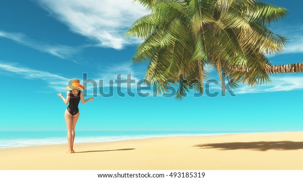 Beautiful woman wearing a swimsuit on the beach near a palm tree. This is a 3d render illustration