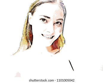 Beautiful women face smile watercolor painting background.