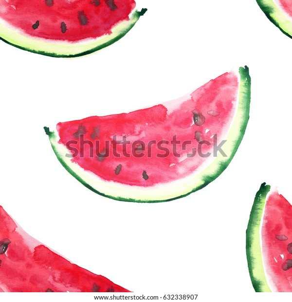 Beautiful wonderful bright colorful delicious tasty yummy ripe juicy cute lovely red summer fresh dessert slices of watermelon  pattern hand sketch