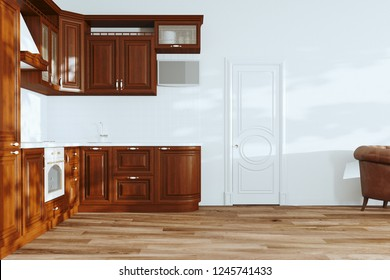 Beautiful Wooden Classic Kitchen in new Luxury Home with  Hardwood Floors, White Walls and Vintage Appliances 3d render