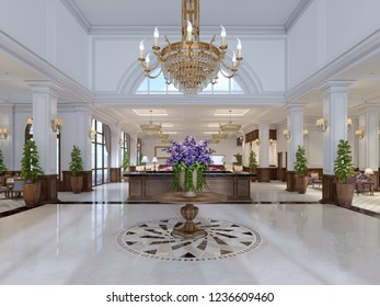 Beautiful wooden reception in the center of the spacious lobby in the classical style. 3d rendering