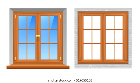 Beautiful wooden texture classic style window frames indoor and outside views 2 realistic icons set  isolated illustration