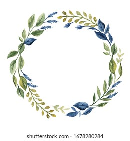 Beautiful wreath. Elegant floral collection with isolated blue,pink leaves and flowers, hand drawn watercolor. Design for invitation, wedding or greeting cards