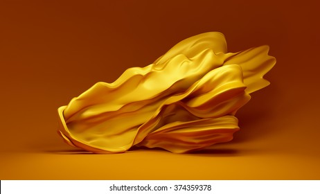 Beautiful yellow background with a floating, developing fabric - silk, satin, sateen.