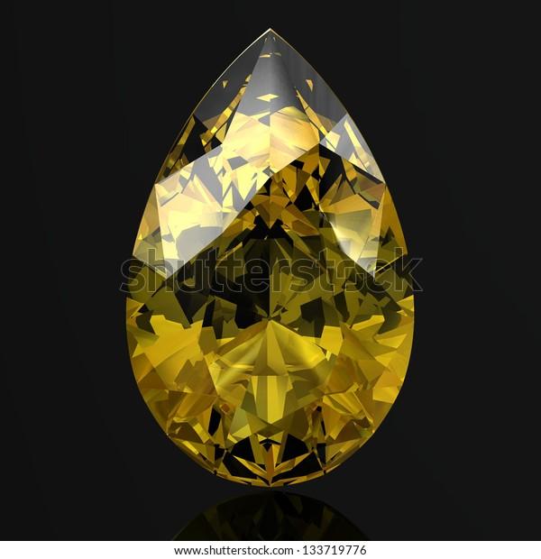 Beautiful yellow diamond (high resolution 3D image)