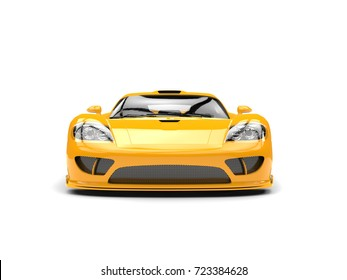 Beautiful yellow modern super race car - front view - 3D Illustration
