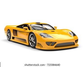Beautiful yellow modern super race car - beauty shot - 3D Illustration
