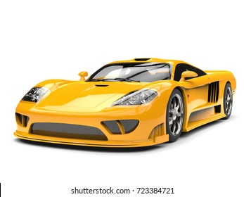 Beautiful yellow modern super race car - 3D Illustration