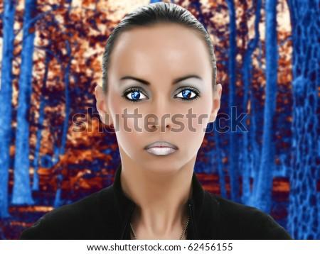 Beautiful young alien woman