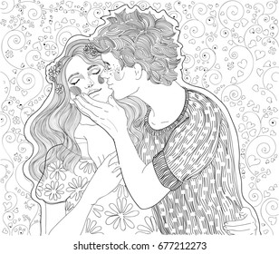 beautiful young couple, the guy kisses the girl on the cheek and hugs, against the background of blossoming hearts
