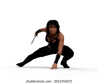 Beautiful young dark haired woman wearing a black leather outfit crouching with a knife in her right hand. 3D illustration isolated on a white background.