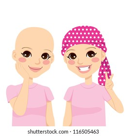 Beautiful young girl happy and full of optimism after surviving cancer and losing hair due to chemotherapy treatment