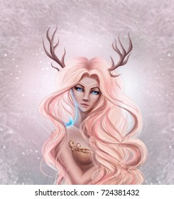 beautiful young girl, reindeer bambi, in a fairy forest with a butterfly