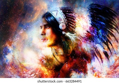 Beautiful young indian warrior in cosmic space. Painting collage.