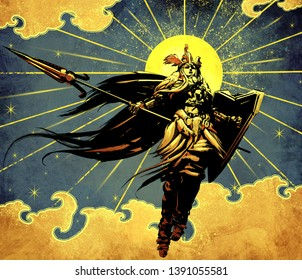 A beautiful young Valkyrie hovers in the air and screams while holding a weapon and shield in her hands, amid the bright yellow sun and Golden clouds