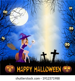 A beautiful young witch sits on a pumpkin next to two graves, from which a beam of light rises. She has a skull in her hand. Owls sit in the trees around and watch closely