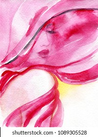 beautiful young woman covering her face with a voile.. fashion illustration. watercolor painting