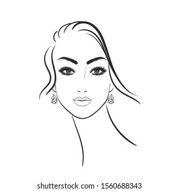 Beautiful young woman with diamond earrings on a white background.Black line female face. Lady head, stock illustration.