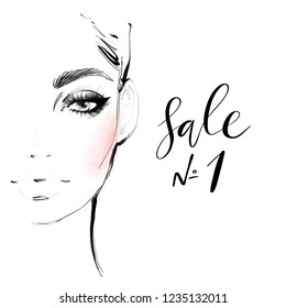 Beautiful young woman face black and white fashion illustration. Hand drawn pencil and watercolor sketch. Abstract girl model with elegant makeup and peach blush shade portrait art for banner design.