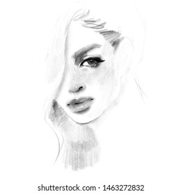 Beautiful young woman face black and white pencil drawing sketch. Girl fashion illustration.