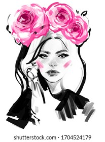 Beautiful young woman face black and white pencil drawing sketch. Girl with pink rose flowers wreath on head portrait fashion illustration.