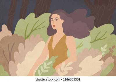 Beautiful young woman with long brunette hair waving in wind standing among green bushes. Wild girl in dense thicket of gloomy forest. Gorgeous cartoon character. Colorful illustration.