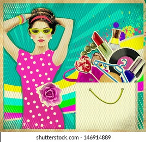 Beautiful Young woman in pink dress .retro shopping poster background
