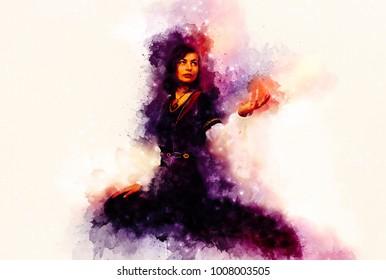 beautiful young woman posing in historical dress making a dramat